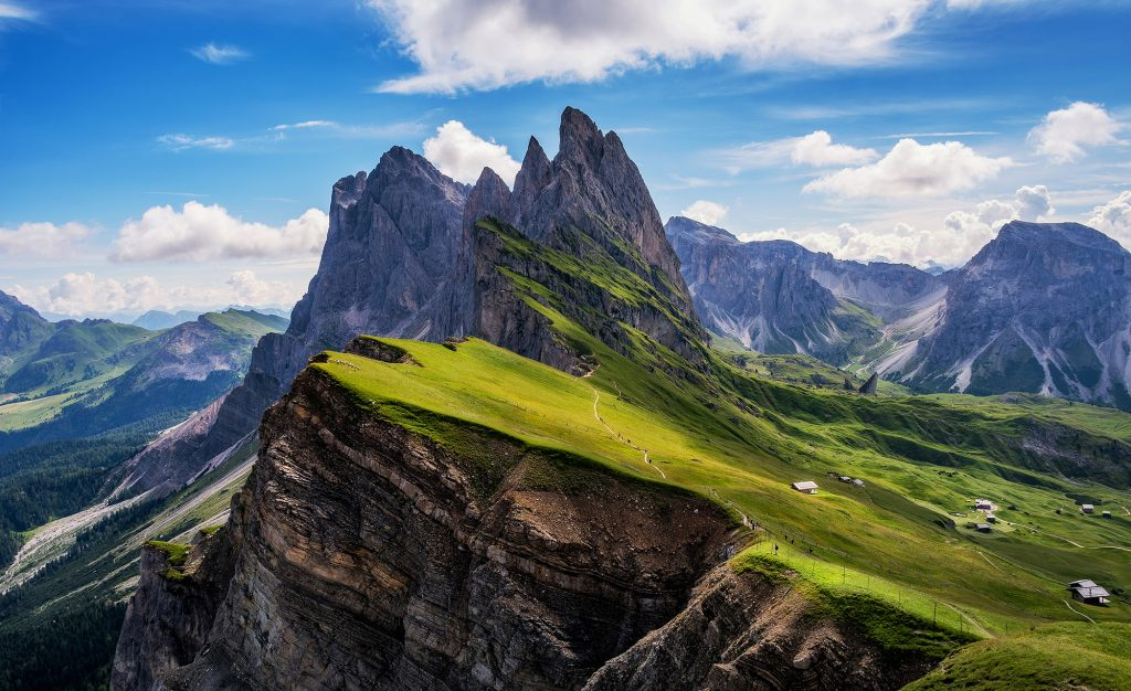 Amazing views in the Dolomites mountains. Views from Seceda over the Odle mountains are spectacular.